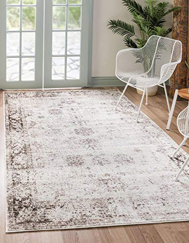 Unique Loom Sofia Collection Area Traditional Vintage Rug, French Inspired Perfect for All Home Décor, 6' 0 x 9' 0 Rectangular, Ivory/Brown