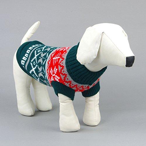 Kismaple Animale Domestico Cane Panno Classico Abiti Maglione Caldo Cani Grande Verde,XL Lunghezza Posteriore: 33-34cm