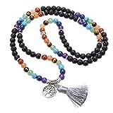 Top Plaza 7 Chakra Buddha Mala Prayer Beads 108 Meditation Healing Multilayer Bracelet/Necklace W/Tree of Life Tassel Charm(Lava Rock Stone)