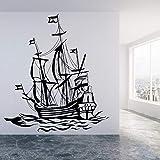 wZUN Calcomanía de Pared de yate oceánico navegando Ola oceánica Hermoso Paisaje Vinilo Pegatina de Pared decoración 50X44cm