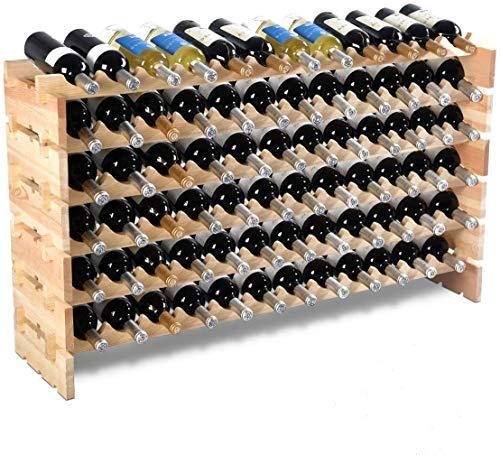 DREAMADE Cantinetta Portabottiglie in Legno Scaffale Porta Vino per 72 Bottiglie per Casa Bar Ristorante