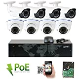 GW Security 8CH 5 Megapixel 1920P Video Home Security Camera System, 4pcs HD 1920p 5MP Outdoor Bullet & 4pcs Dome IP Camera,80-120ft Night Vision, 330ft Transmit Range, 2TB HDD