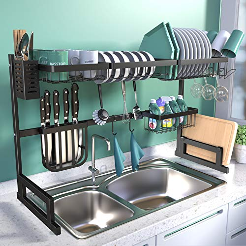 BASSTOP Over The Sink Dish Drying Rack, 2-Tier Dish Rack Width...