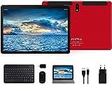 Tablet 10 Pulgadas Android 10.0 Tableta Ultra-Portátiles - RAM 4GB   64GB Expandible (Certificación Google gsm) -JUSYEA - Batería de 8000mAh - WiFi —Ratón   Teclado y Otros (Rojo)