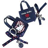 Hello Kitty By Camomilla - Porte-Clés Bijou de Sac Mini Cabas Bleu ' Loves USA ' Etats Unis -...