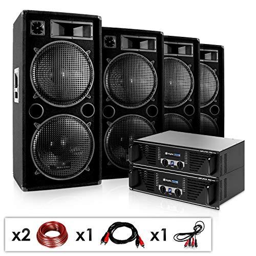 E-Star DJ Set Phuket Pulsar PRO impianto Audio Completo PA (4 x Casse Altoparlanti AUNA 4000 Watt, 2 x Amplificatore Skytec Finale di Potenza 1600 Watt, Set di Cavi)