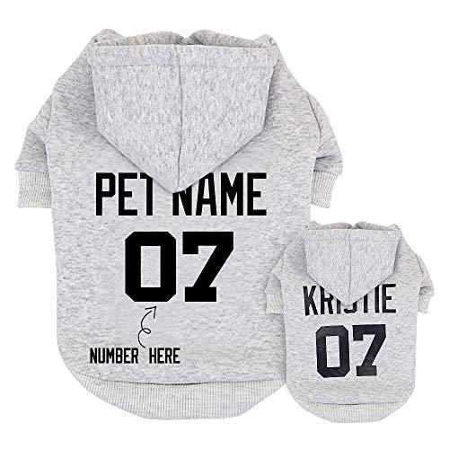 Didog Hundepullover, personalisierbar, mit Namen und Nummer, für Pudel/Yorkie/kleine/mittelgroße Hunde