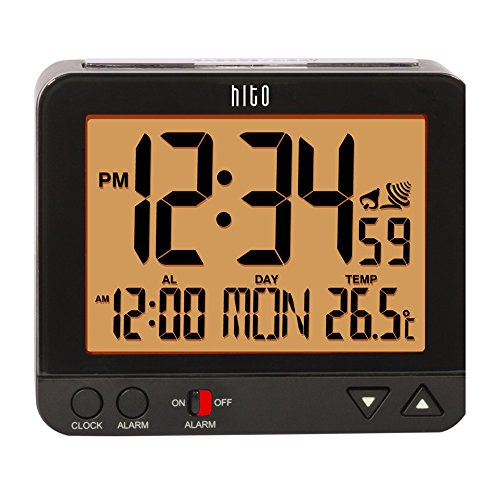 "hito 3.8"" Digital Battery Atomic Alarm Clock Bedside Travel Auto Time Set Auto Night Light Date Day Indoor Temperature 4 Timezones for Bedroom Office Desk"