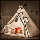 Teepee Tent for Girls, Boys - Deluxe Set with Smores-Campfire, Fairy Lights, Super Thick Fabric | Kids Love This Luxury Tipi for Indoor Reading, Imaginative Pretend Play | for Children, Toddlers