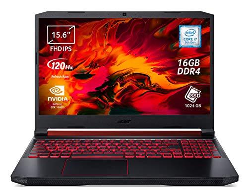 Acer Nitro 5 AN515-54-79L5 Notebook Gaming, Processore Intel Core i7-9750H, RAM 16 GB DDR4, 1024 GB SSD, Display 15.6' FHD IPS 120 Hz Slim Bezel LCD, NVIDIA GeForce GTX 1660Ti 6 GB, Windows 10 Home