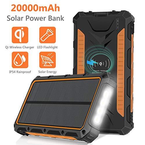 Sendowtek Caricabatterie Solare 20000mAh, Power Bank Qi Wireless Batteria Esterna Portatile, 3 Porte...