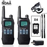 TIDRADIO Walkie Talkies Rechargeable FRS 2 Way Radio NOAA Weather FM Radios Dual Watch USB Charging License-FreeFRS Walkie Talkies 2pack