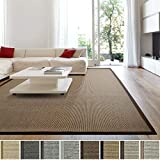 iCustomRug Zara Synthetic Sisal Collection Area Rug and Custom Size Runners, Softer Than Natural Sisal Rug, Stain Resistant & Easy to Clean Beautiful Border Rug in Chocolate 4' x 6'