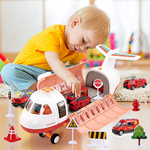 TEMI Mist Spay Transport Airplane Cargo with 6 Mini Diecast Fire Fighting Vehicles and Playmat for Toddlers, Children Educational Toy Plane with Music & Lights, Ideal Car Set for Kids 3 4 5 6 Years