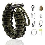 """The Friendly Swede Bracelet Multi-Fonction en Paracorde avec Kit de Survie """"Grenade"""" pour la Randonnée - Garantie A Vie (Vert Militaire avec Ligne Noire, Unique)"""