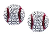 """Kenz Laurenz Baseball Earrings Studs are lined with Sparkly White and Red Crystal Rhinestone Bling Pavers Kenz Laurenz Baseball Earrings Studs are Great for your Fastpitch Sport Game and for Fashion Kenz Laurenz Baseball Earrings Studs measure 1/2"""" i..."""
