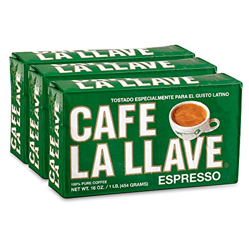 Caf La Llave Espresso, 100% Pure Coffee, Dark Roast, 16-Ounce Bricks (3 Count)
