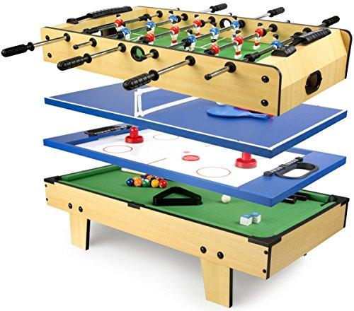 Leomark tavolo da gioco multifunzione 4 in 1 (calcio balilla, biliardo, tennis, hockey), biliardinoo calcetto tavolo in legno per bambini, dimensioni: 82cm x 43,5cm x 20cm (LxPxA)