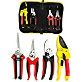 KOTTO 4 Packs Pruner Shears Garden Cutter Clippers, Stainless Steel Sharp Pruner Secateurs, Professional Bypass Pruning Hand Tools Scissors Kit with Storage Bag