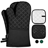 Homemaxs Oven Mitts and Pot Holders 4pcs Set, 500℉ Heat Resistant Non-Slip Food Grade Kitchen Mitten Silicone Cooking Gloves s for Kitchen, Cooking, Baking, BBQ-Black