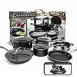 GRANITESTONE 2807 10-Piece Non-Stick Ultra Durable, Mineral & Granite Coated Scratch Proof Cookware Set + 5 Piece Utensil Set