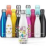 Proworks Bottiglia Acqua in Acciaio Inox, Senza BPA Vuoto Isolato Borraccia Termica in Metallo per Bevande Calde per 12 Ore & Fredde 24 Ore, Borraccia per Sport e Palestra - 1 Litre - Amici piumati