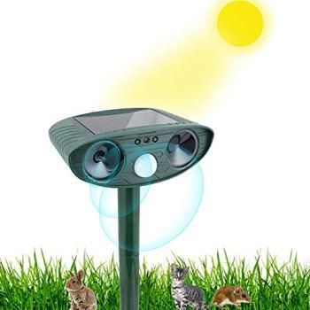 Jsdoin Répulsif solaire étanche pour animaux - Dissuasif pour animaux - Avec détecteur de mouvement - Pour chats, chiens, animaux sauvages, jardin, cour, champ, ferme