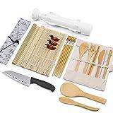 Sushi Making Kit, Bamboo Sushi Mat, All In One Sushi Bazooka Maker with Bamboo Mats, Bamboo Chopsticks, Paddle, Spreader, Sushi Knife, Chopsticks Holder, Cotton Bag, Bamboo Cutlery Set