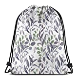 Dusty Purple Sage Green Leaves Greenery - Mochila ligera para gimnasio, senderismo, yoga, natación, viajes, playa
