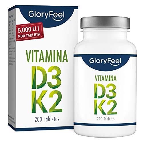 GloryFeel® Vitamina D3 + K2 - Bote con 200 tabletas - 5.000 UI de vitamina D3 y 200 µg de vitamina K por tableta - Vitamina K2 original Menaquinona MK-7 All-Trans 99% - Hecho en Alemania