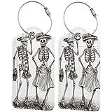 My Daily Halloween Art Skull Etiqueta de Equipaje Etiqueta de Bolsa de Cuero PU Etiqueta de Equipaje de Viaje Etiqueta de Equipaje 1 Pieza