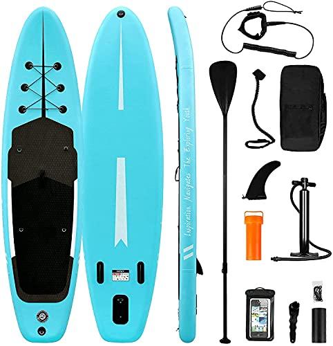 Planche de Stand Up Paddle Board Gonflable, Sup Paddle avec Pompe à Double Action, Pagaie, Laisse, Boîte de Réparation, Aileron, Sac de Transport
