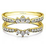TwoBirch 0.56 Ct. Crown Inspired Half Halo Ring Guard(in 10k Yellow Gold size 7.5) with Cubic Zirconia