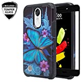 LG Aristo 3/Aristo 2 Plus/Aristo 2/ Tribute Dynasty/Zone 4/Fortune 2/Risio 3/Rebel 3/Rebel 4/Phoenix 4 Case w/Tempered Glass Screen Protector, GW USA Shock Proof Cases for LG Aristo 3 - Blue Butterfly