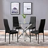 4HOMART YVONNE&F.L.A.M. Dining Table with Chairs, Round Glass Table Set Modern Tempered Glass Top Table with 4 Black PU Leather Chairs Dining Room Furniture(Round Table+4 Black Chairs)