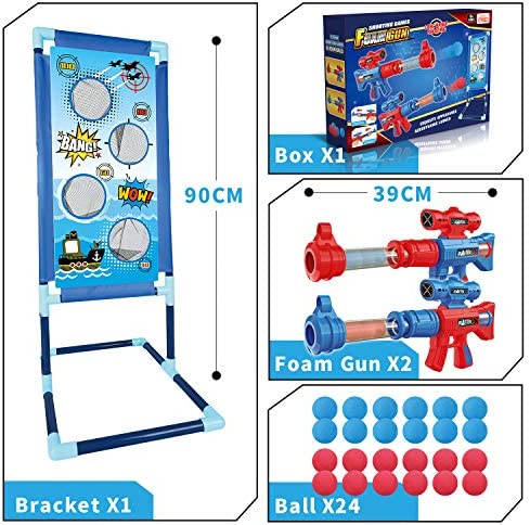 OleFun Shooting Game Toy for Age 6, 7, 8,9,10+ Years Old Kids, Boys - 2 Foam Ball Popper Air Guns & Shooting Target & 24 Foam Balls - Ideal Gift - Compatible with Nerf Toy Guns