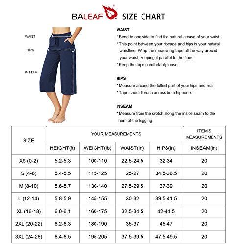 BALEAF Women's Active Yoga Lounge Indoor Jersey Capri Pocketed Walking Crop Pants Black Size L 5