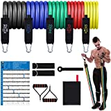 Mokani Resistance Bands Set (11pcs), Exercise Bands with Door Anchor & Handles, Home Gym Equipment Men Women Legs Ankle for Resistance Training, Home Workouts, Fitness