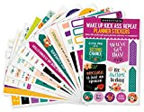 Essentials Planner Stickers -- Wake Up Kick Ass Repeat (Set of 150 Stickers)