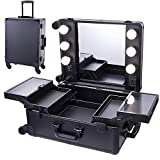 Chende Black Studio Artist Train Rolling Makeup Case with Lights, Large Lighted Vanity Case with Mirror Wheeled Organizer for Dressing Room, Traveling Cosmetic Case (23.03' X 15.75')