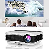 HD LED Movie Projector 5000 Lumens Multimedia Video Projector LCD Image System Zoom Support 1080P Home Theater Indoor Outdoor HDMI USB VGA AV Audio Compatible with Phones Laptop TV DVD PC Game
