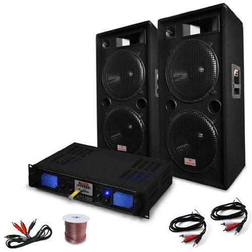 DJ set 'DJ 42' Imapianto PA completo altoparlanti 3000 Watt (2 x Casse 750 Watt RMS, 1 x amplificatore finale, Cavi per collegamento)
