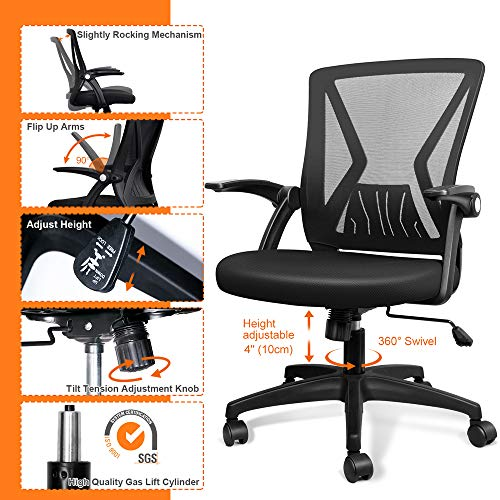 Product Image 3: QOROOS Mid Back Mesh Office Chair Ergonomic Swivel Black Mesh Desk Chair Flip Up Arms with Lumbar Support Computer Chair Adjustable Height Task Chairs