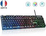 Clavier Gamer,Horsky USB Clavier RGB Clavier étanche Rétro-éclairé...