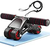 FUNMILY Ab Roller for Abs Workout, Ab Wheel Roller with Knee Mat and Resistance Rope for Home Gym Exercise, 3-in-1 4 Wheel Abs Wheel Roller Workout Equipment