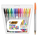BIC Cristal Multicolour - Pack de 15 unidades, bolígrafos de punta ancha (1,6mm), colores...