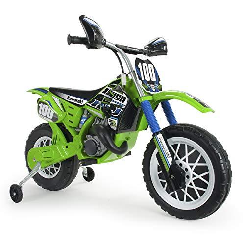 INJUSA - Moto Cross Kawasaki 6V pour Enfants +3 Ans avec Accélérateur sur la Poignée, Frein Électrique et Roues Stabilisatrices