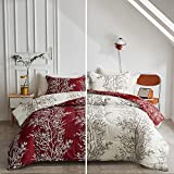 FlySheep King Burgundy Red Comforter Set Tree Pattern, Branch Floral White/Red Reversible 3 Piece Modern Bedding Set for Women for All Season