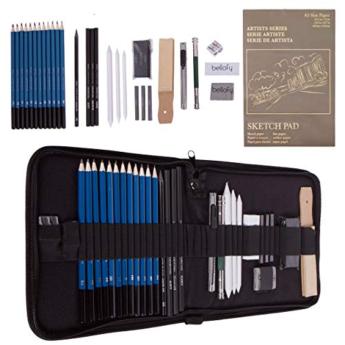 Bellofy 33-Piece Professional Art Kit - Drawing and Sketch Kit with Pencils, Erasers, Kit Bag and Free Sketchpad - Art Supplies, Drawing Pencils, Graphite Pencils, Sketching Supplies