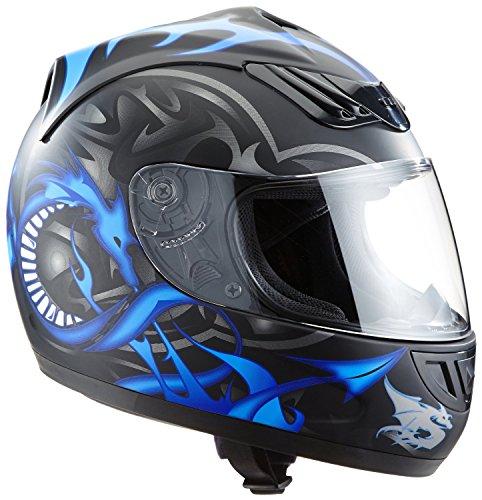Protectwear H510-11-BL Casque de moto intégral, mat noir, avec Motif de Dragon en bleu, Taille: XL